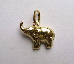 9ct-Gold-Ligero-Elefante-colgante-0-7-g
