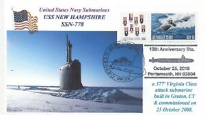 Uss-Nuevo-Hampshire-SSN-778-Submarino-10th-Anniv-color-Cacheted-Naval-Grafico-Pm