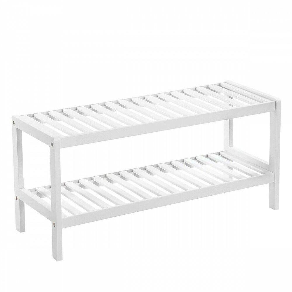 Zapatero multiusos de madera blanca 2 estantes - Banco almacenamiento 33x70x26cm