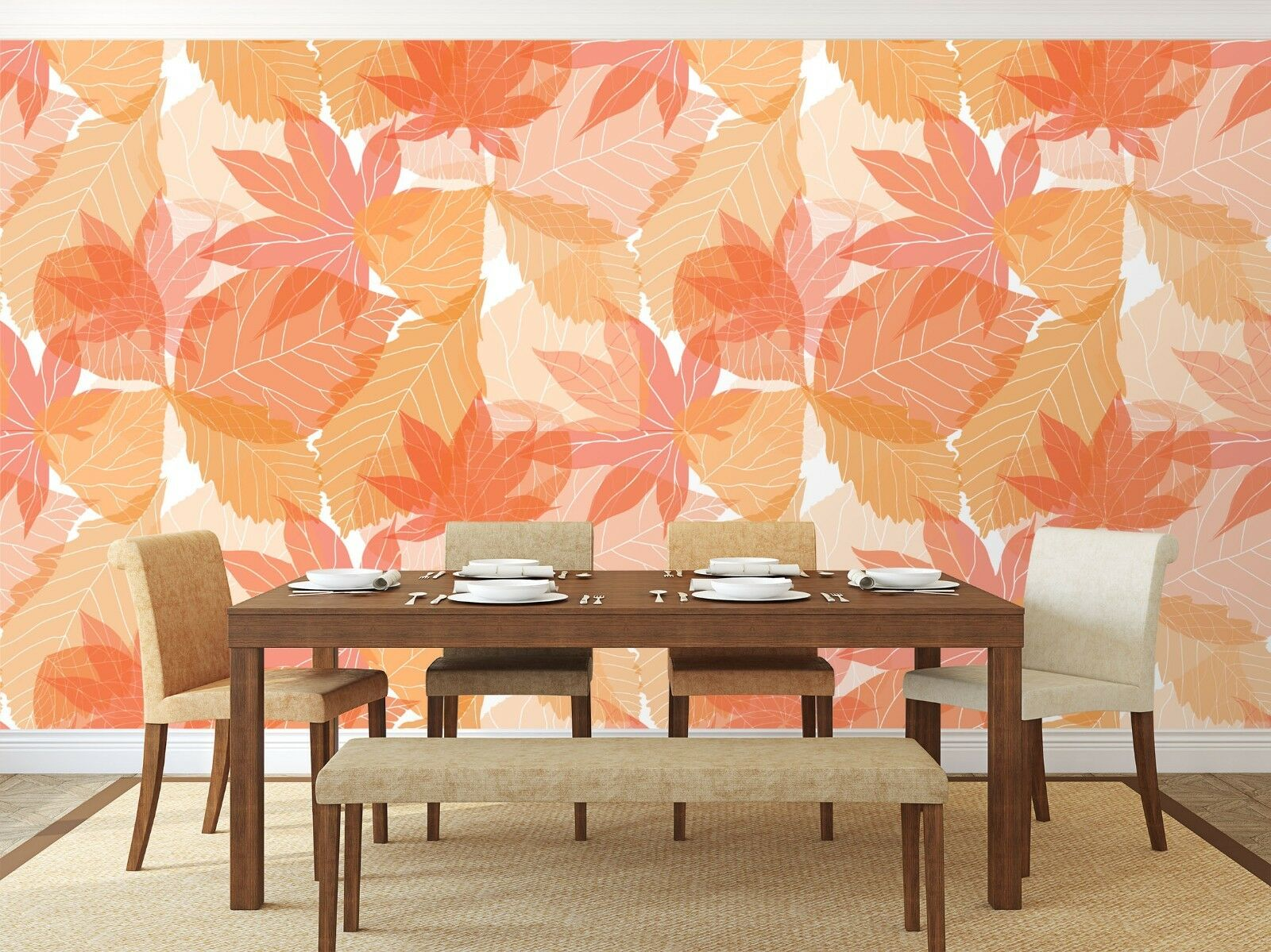 3D Red Leaf 7356 Wall Paper Exclusive MXY Wallpaper Mural Decal Indoor Wall AJ