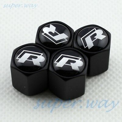 BLACK Wheel Tire Tyre Valve Stem Air Cap GOLF MK5 MK6 MK7 Scirocco R-LINE RLINE