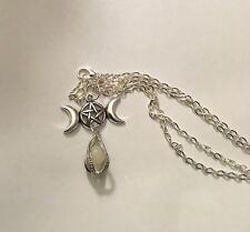 "Triple Moon 24"" Necklace Pagan Goddess Pentegram Pentagram with glow in dark orb"