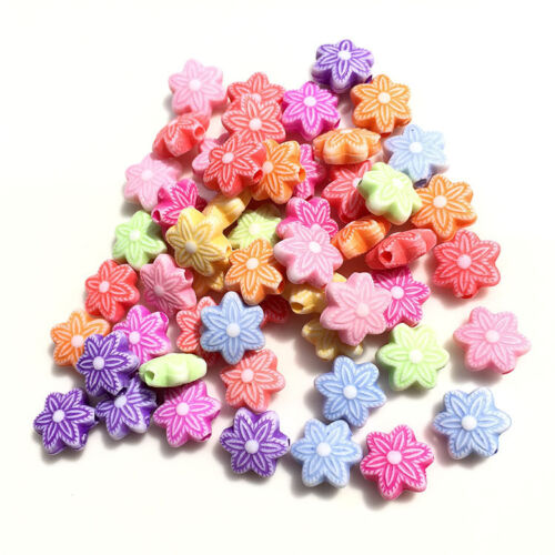 200pcs Charms Mixed color Acrylic Flower Candy Loose Spacer Beads Jewelry Making