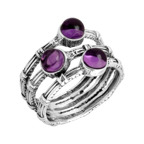 Silpada /'Seeing Triple/' 1 1//3 ct Natural Amethyst Ring in Sterling Silver