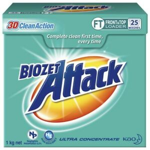 NEW Biozet Attack High-Performance Low Suds Front Top Loader Laundry Powder 1Kg