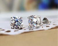 2CT Brilliant Lab Created Diamond Earrings 14K White Gold Round Cut Stud