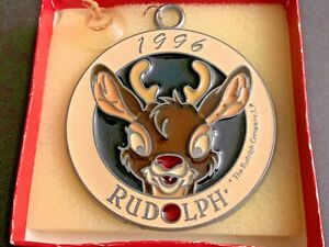 VERY-RARE-Vintage-1996-The-Rudolph-Company-Red-Nosed-Reindeer-Christmas-Ornament