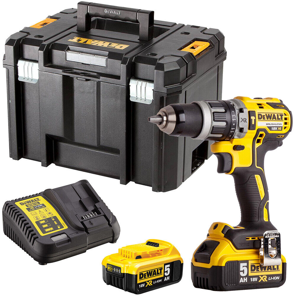 DeWalt DCD796N 18V Brushless Combi Drill with 2 x 5Ah Batteries Charger in Case