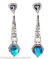 BLUE GREEN NORTHERN LIGHTS CRYSTAL RHINESTONE & Silver Chandelier Drop Earrings