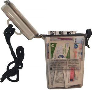 "Mini / Travel Emergency EMT EMS First Aid Kit - Waterproof Hard Case - 6"" Inch"