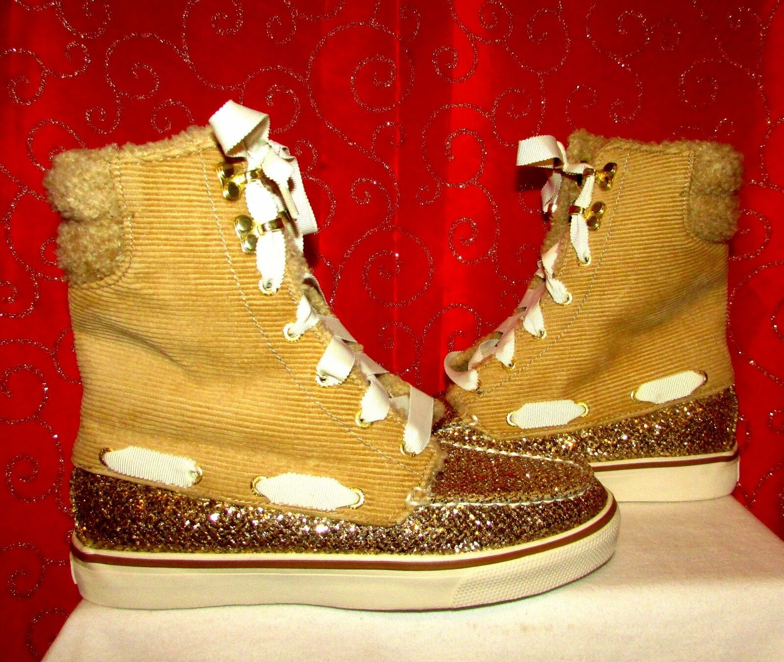 SPERRY TOP SIDER ACKLINS TAN CORDUROY gold GLITTER LACE UP BOOTS WORN ONCE SZ 6