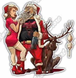 Drunk Santa Claus Cigar Christmas Deer Girl Car Bumper Vinyl Sticker