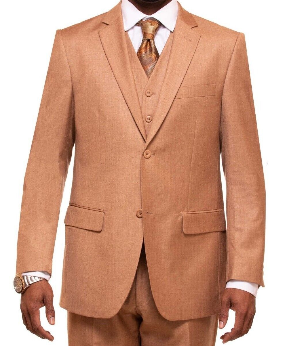 MEN'S LIGHT BROWN VESTED SUIT
