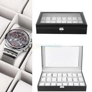 New 24 Slot Watch Box Leather Display Case Organizer Top Glass