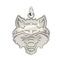 Arkansas State Red Wolves Sterling Silver Natural Finish Logo Charm 3/4