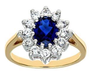 9Ct-Amarillo-Oro-Conjunto-Zafiro-Diamante-Sintetico-Disenador