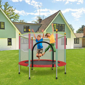 Round-Trampoline-with-Enclosure-Net-W-Spring-Pad-Ladder-Bouncing-Bed