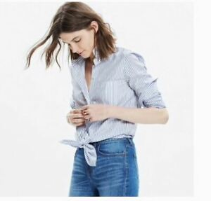 Madewell-XS-Shirt-Tie-Front-Striped-White-amp-Blue-Bookend-Womens-Top-Blouse