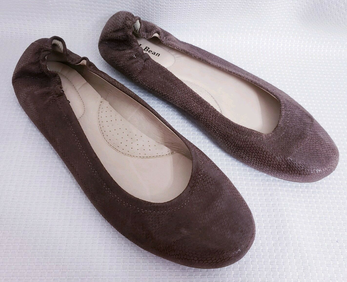LL Bean Brazil Brown Embossed Leather Ballet Flats shoes sz 9 M Women's
