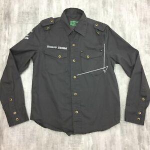 Mens-BSHOP-DENIM-Dark-Gray-100-Cotton-Military-Long-Sleeve-Button-Up-Shirt-Sz-S