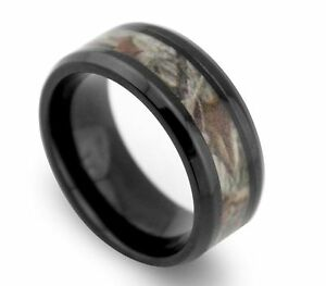 8MM New Green Yellow Camo Hunting Tungsten Ring Real Tree Leaves Silver