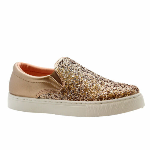 Ladies Womens Flats Plimsolls Glitter Skater Pumps Trainers Sneakers Shoes Size
