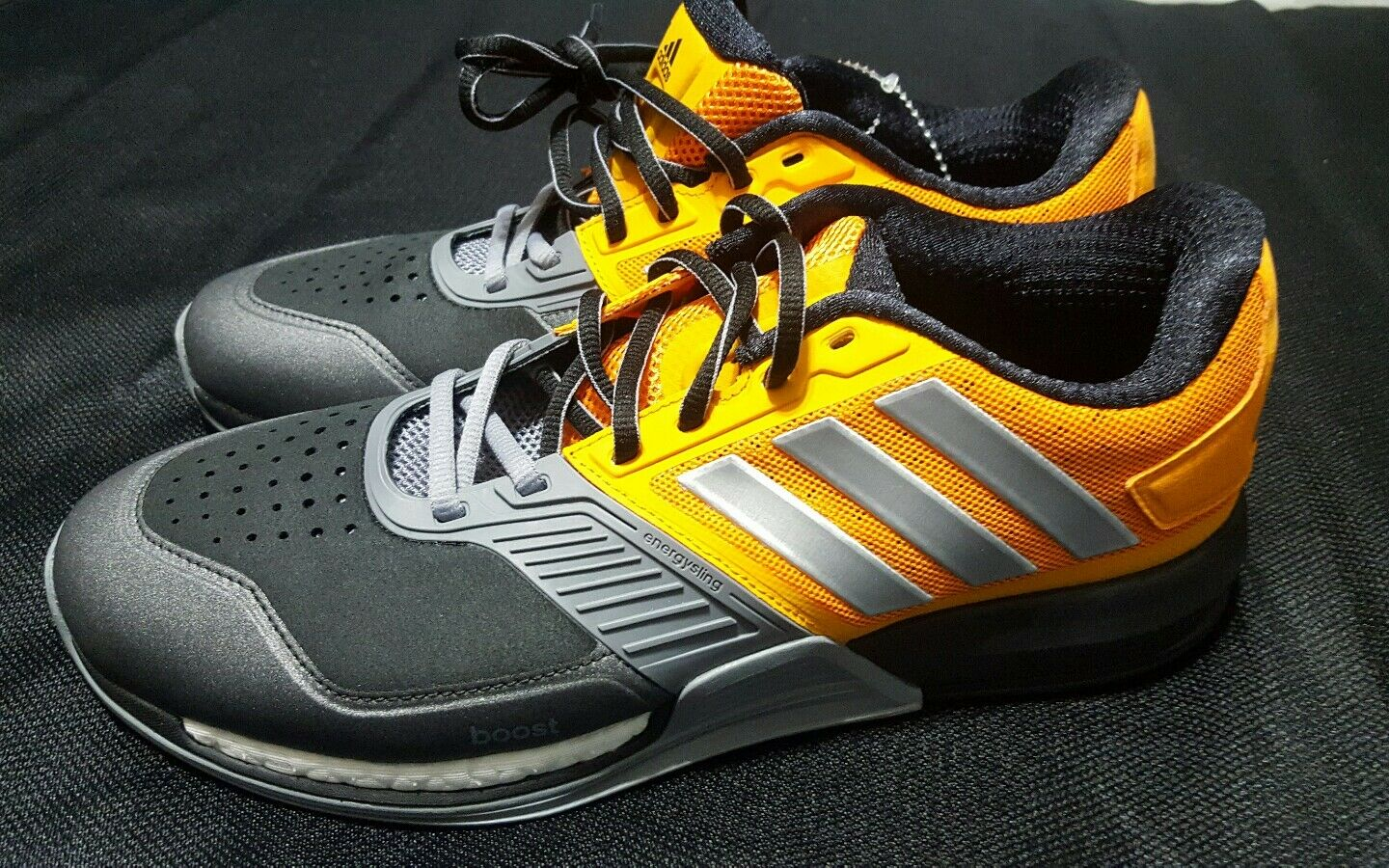 NEW Adidas Crazy Train Boost Sneakers Shoes, Grey/Orange/Black