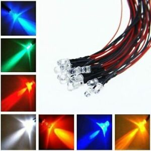 Details About 100pcs Led Prewired Bulb 20cm Pre Wired Lamp 5v 12v 24v Dc Red Blue