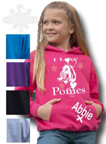 personalisiert Pferd Kapuzenpulli Pony Geschenk Kinder's Reiter umwerfend I