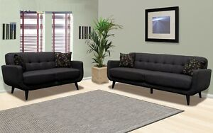 Dark Charcoal Fabric Sofa & Loveseat 2 Pc Sofa Set Living Room Furniture Home