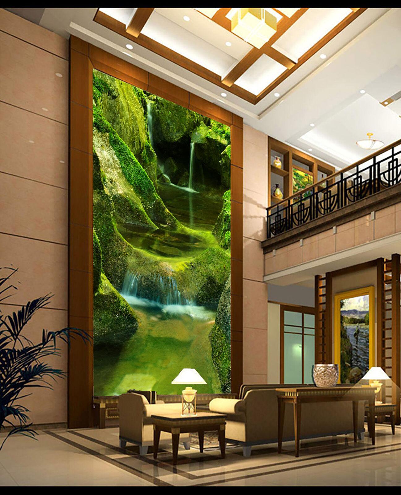 3D Stone Green Water 725 Wallpaper Mural Paper Wall Print Wallpaper Murals UK