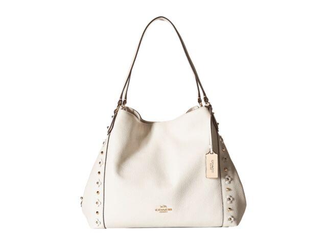 edd3c2c607 Coach 37700 Edie 31 Chalk Floral Rivets Shoulder Bag Leather Handbag ...
