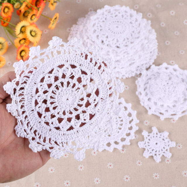 24 Vintage Bulk Lace Linen Cotton Crochet Doilies Motifs Home Table