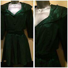 VINTAGE 80s Giacca di raso verde discoteca & Rara Gonna SZ 6/8 Fancy Dress