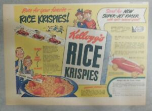 Kellogg's Cereal Ad: Super Jet Racer Premium ! From 1949 Size: 7 x 10 inches