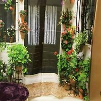 Spanish Garden House SHOWER CURTAIN Fabric Flowers Vines Floral Green Red Bath