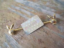 """Gold Playboy Bunny Industrial Barbell Cartilage Piercing 14G  1-1/2"""" (38mm)"""