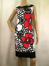 CONNECTED APPAREL Black, White & Red  Floral Sleeveless Sheath Dress, Size 12