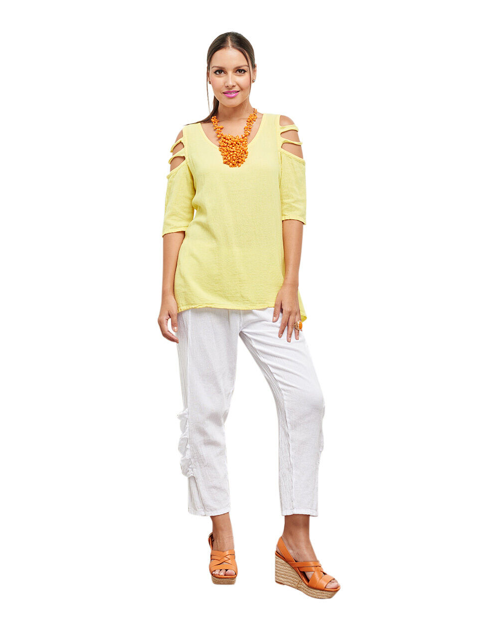 Oh My Gauze Miami Blouse Half Sleeve Tunic Top 100% Cotton Lagenlook