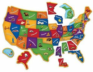 Details about U.S. Map Puzzle, Geography Magnetic States Landmarks  Interactive Toy Kids New