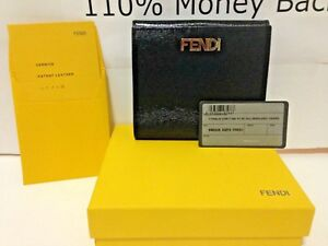550-NEW-FENDI-Women-Black-Patent-Leather-Logo-French-Wallet-Coins-Purse-Wallet