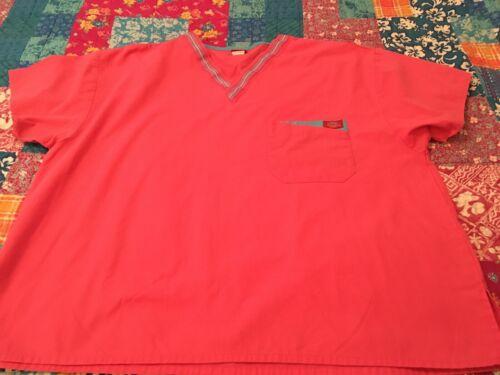 Dickies Women's Nurse Scrub Top Large Pink Style#