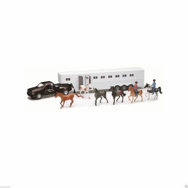 NEWRAY COUNTRY LIFE FORD BLACK PICK UP WITH HORSE SET & 2 RIDERS 1/32 #SS-15385