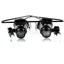 20X LED Light Double Eye Jeweler Watch Repair Magnifier Glasses Loupe Lens HGUK