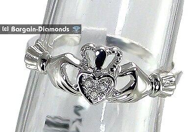 Claddagh Diamond Irish hands heart crown 14K white gold ring 3-stone friendship