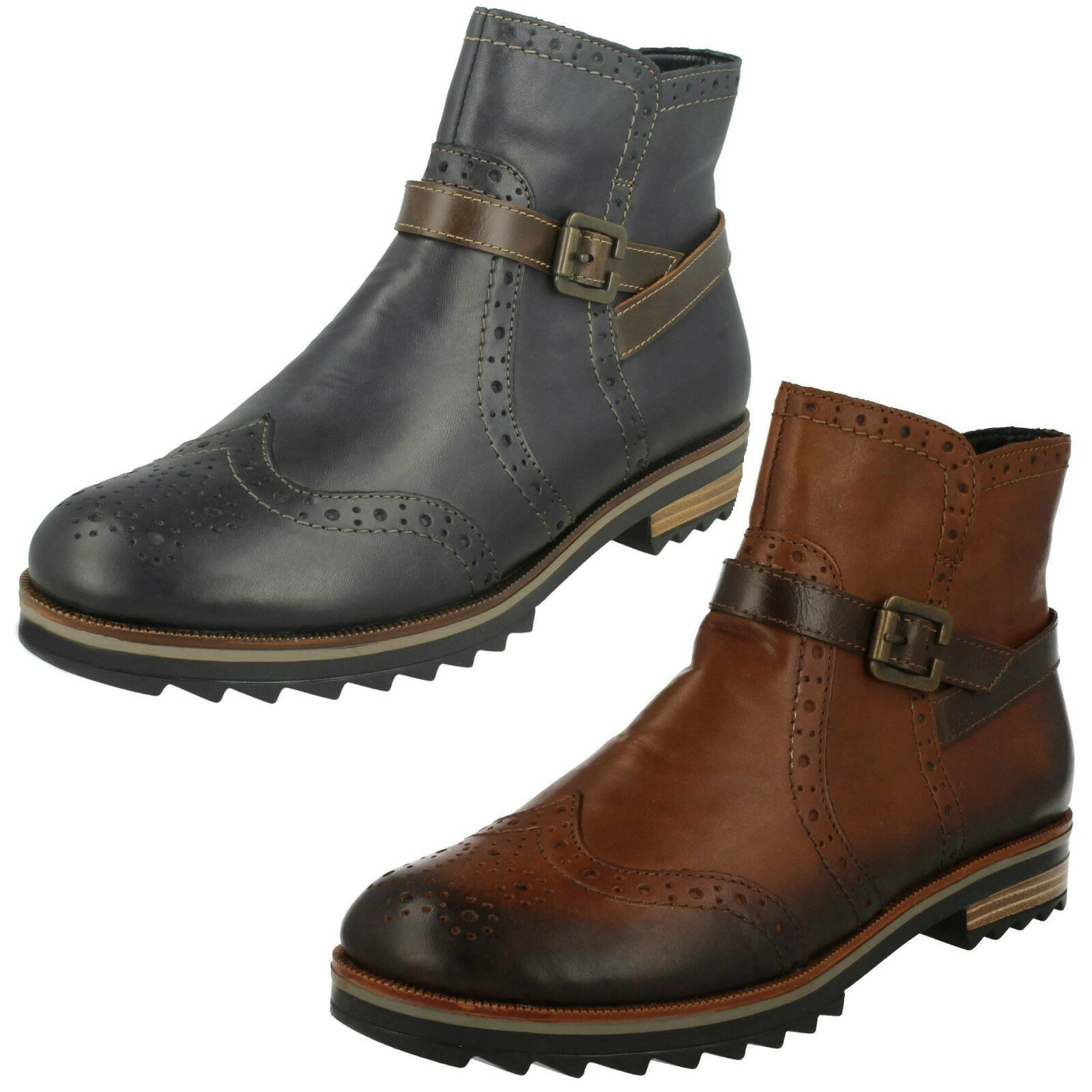 Ladies Remonte R2278 Brown & Blue Leather Zip Up Bnkle Boots
