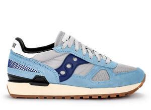 Saucony-Uomo-Shadow-Original-Scarpe-Sneakers-Camoscio-Tela-Ammortizzata-Blu