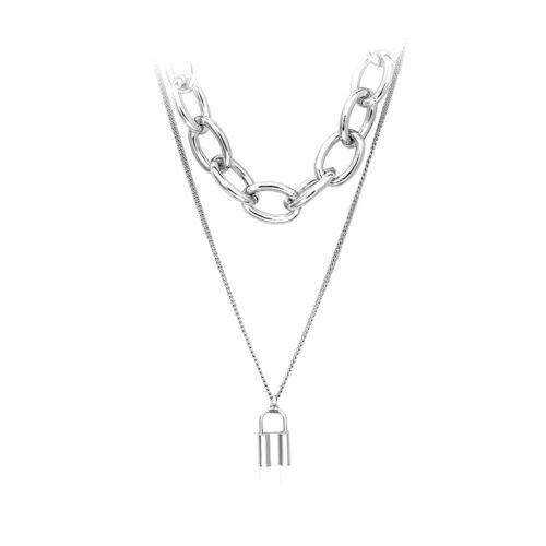Punk Unisex Women Girls Padlock Necklace Pendant Chain Club Party Gifts UQ