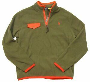 Polo-Ralph-Lauren-Men-039-s-Army-Green-Orange-Fleece-1-2-Zip-Pullover-Men-039-s-Sz-S