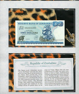 *Most Treasured Banknotes Zimbabwe 1994 2 Dollars P 2c UNC Prefix AB-Z Wmk A